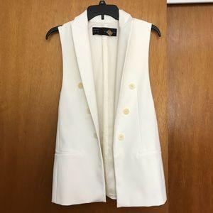 Cream Open Vest w/Faux Pockets, Decorative Buttons